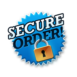 Secure order - Burst Badge Blue