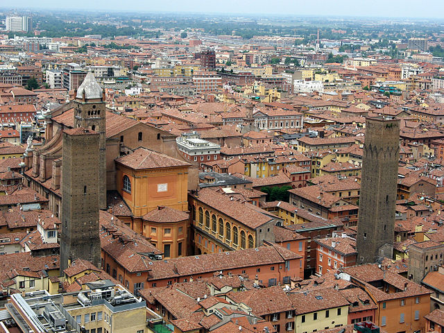Rear view of Bologna's San Pietro cathedral, seen from the Asinelli tower
